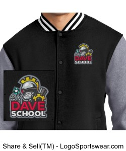 DAVE School Fleece Letterman Jacket Design Zoom