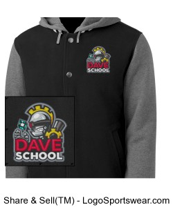 DAVE School Insulated Adult Heavy Weight Fleece Letterman Jacket Design Zoom